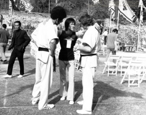 With Bruce Lee and Peter Archer on the set of Enter the Dragon.